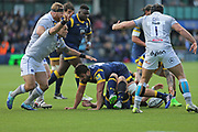 Bath Kahn Fotuali'I  Scrum Half (9) ordering the backs first half during the Aviva Premiership match between Worcester Warriors and Bath Rugby at Sixways Stadium, Worcester, United Kingdom on 15 April 2017. Photo by Gary Learmonth.