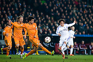 10.12.2013. Copenhagen, Denmark. Bolaños (R) of FC Copenhagen fights for the ball with Pepe (L) of Real Madrid during the UEFA Champions League macht at the Parken Stadium.Photo: © Ricardo Ramirez
