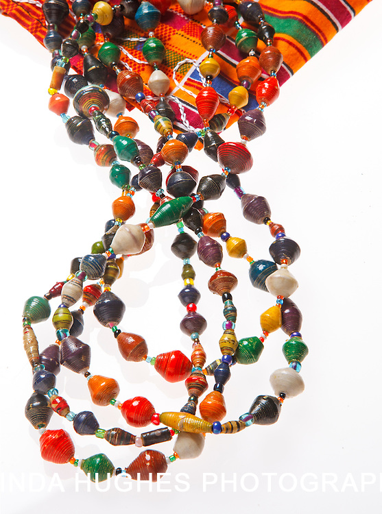 African Beads on Kente Cloth on white background