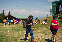 Visitors head to Gunstock's Mountain Top stage as Soulfest 2017 begins on Thursday afternoon.   (Karen Bobotas/for the Laconia Daily Sun)