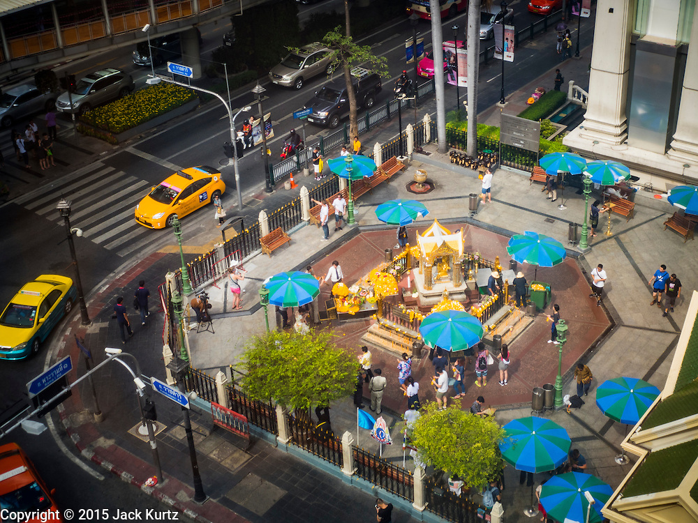 24 AUGUST 2015 - BANGKOK, THAILAND: Erawan Shrine in Bangkok reopened Wednesday, August 19, after more than 20 people were killed and more than 100 injured in a bombing at the shrine Monday, August 17, 2015. The shrine is a popular tourist attraction in the center of Bangkok's high end shopping district and is an important religious site for Thais. No one has claimed responsibility for the bombing.         PHOTO BY JACK KURTZ