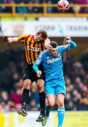 Sunderland's Adam Johnson goes up for a header- Photo mandatory by-line: Matt McNulty/JMP - Mobile: 07966 386802 - 15/02/2015 - SPORT - Football - Bradford - Valley Parade - Bradford City v Sunderland - FA Cup - Fifth Round