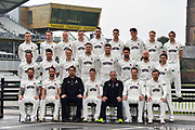 Somerset Specsavers County Championship Team Photo.  (Back Row) Tim Rouse, Eddie Byrom, Fin Trenouth, Ollie Sale, Paul van Meekeran, Ben Green, Tom Banton, George Bartlett, Josh Davey, (Middle Row) Roelof van der Merwe, Steve Davies, Max Waller, Craig Overton, Jamie Overton, Tim Groenewald, Jack Leach, Johann Myburgh, (Front Row) Peter Trego, Lewis Gregory, Jason Kerr, Tom Abell, Andy Hurry, Marcus Trescothick and James Hildreth at the media day at Somerset County Cricket Club at the Cooper Associates County Ground, Taunton, United Kingdom on 11 April 2018. Picture by Graham Hunt.