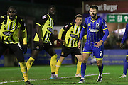 George Francomb of AFC Wimbledon during the Sky Bet League 2 match between AFC Wimbledon and Dagenham and Redbridge at the Cherry Red Records Stadium, Kingston, England on 24 November 2015. Photo by Stuart Butcher.