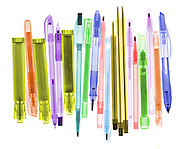An xray of several ball point pens.