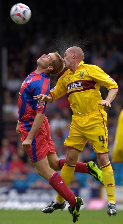 Photo: Daniel Hambury.<br />Crystal Palace v Burnley. Coca Cola Championship. 26/08/2006.<br />Palace's James Scrowcroft and Burnley's John McGreal battle