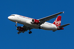 Virgin America Airbus A320-214 (registration N847VA) approaches San Francisco International Airport (SFO) over San Mateo, California, United States of America