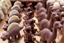 Chocolate creations for sale at The Chocolate Show, at Olympia in Kensington, London.  Picture date: Friday October 13th, 2017. Photo credit should read: Matt Crossick/ EMPICS Entertainment.