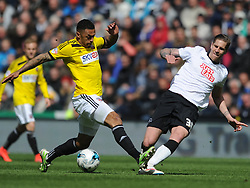 Derby Raul Abentosa denies Brentford Andre Gray, Derby County v Brentford, Sy Bet Championship, IPro Stadium, Saturday 11th April 2015. Score 1-1,  (Bent 92) (Pritchard 28)<br /> Att 30,050
