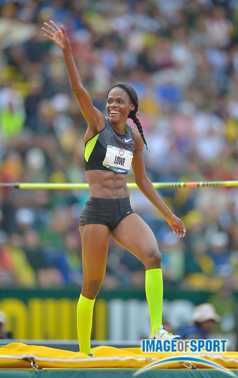 Jun 30, 2012; Eugene, OR, USA; Chaunte Lowe celebrates after a clearance in the womens high jump during the 2012 U.S. Olympic Team Trials at Hayward Field. Lowe won in a meet record 6-7 (2.01m). Mandatory Credit: Kirby Lee/Image of Sport-US PRESSWIRE