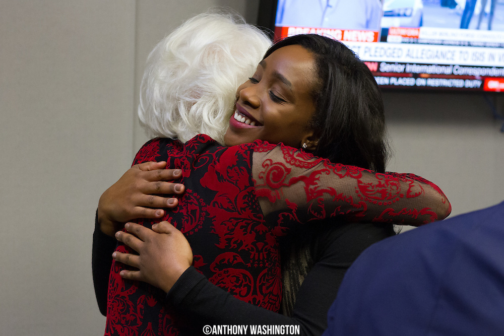 Diane Rehm, host of The Diane Rehm Show, receives a hug from Abby Phillip, National Reporter for the Washington Post, before hosting her final show on Friday, December 23, 2017 at WAMU 88.5 in Washington, DC.