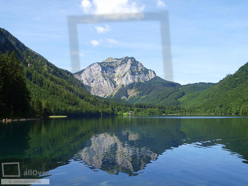 Lake Langbathsee, mountain Brunnkogel, Austria, Upper Austria, lakes