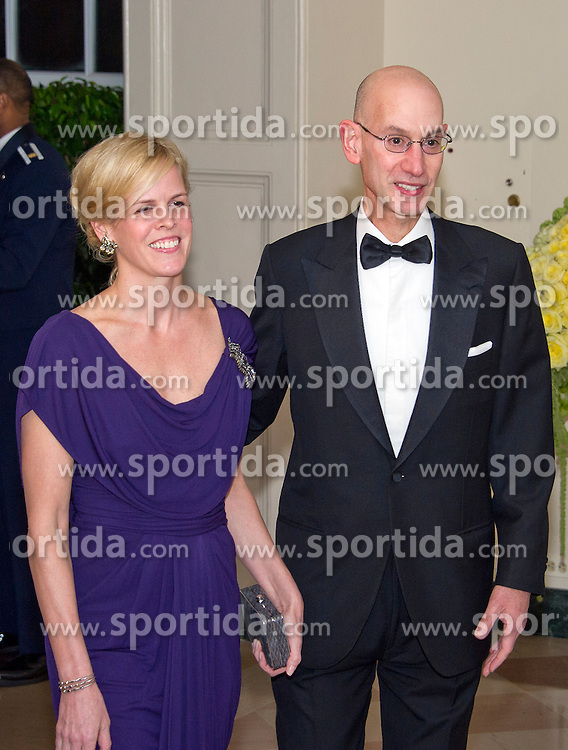 Adam Silver, Commissioner, National Basketball Association and Maggie Grise arrive for the State Dinner in honor of Prime Minister Trudeau and Mrs. Sophie Gr&eacute;goire Trudeau of Canada at the White House in Washington, DC on Thursday, March 10, 2016. EXPA Pictures &copy; 2016, PhotoCredit: EXPA/ Photoshot/ Ron Sachs<br /> <br /> *****ATTENTION - for AUT, SLO, CRO, SRB, BIH, MAZ, SUI only*****