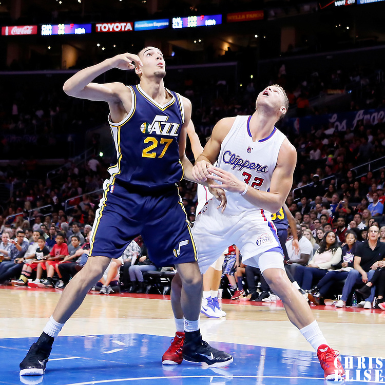 17 October 2014: Utah Jazz center Rudy Gobert (27) vies for the rebound with Los Angeles Clippers forward Blake Griffin (32) during the Los Angeles Clippers 101-97 victory over the Utah Jazz, in a preseason game, at the Staples Center, Los Angeles, California, USA.