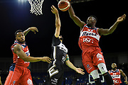Daniel Edozie of Bristol Flyers blocks AJ Basi of Newcastle Eagles during the Betway British Basketball All-Stars Championship at the O2 Arena, London, United Kingdom on 24 September 2017. Photo by Martin Cole.