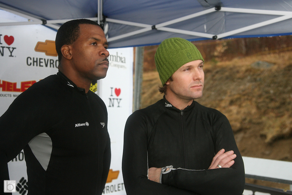 Driver Stanton Barrett (right) with Brakeman Hoy Thurman wait for the next time at the 2007 U.S. Bobsled National Two-Man Championships at the Olympic Sports Complex Bobsled Track in Lake Placid, N.Y. Saturday, January 6, 2007. (Photo/Todd Bissonette)<br />