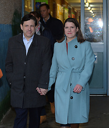 Liberal Democrat leader Jo Swinson casts her vote in Bearsden, Glasgow with husband Duncan Hames.<br /> <br /> © Dave Johnston / EEm