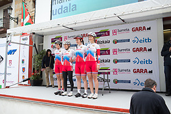 Team Russia stand on the sign-on podium before Stage 3 of the Emakumeen Bira - a 77.6 km road race, starting and finishing in Antzuola on May 19, 2017, in Basque Country, Spain. (Photo by Balint Hamvas/Velofocus)