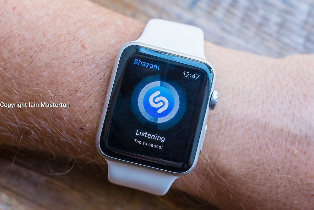 Shazam music search app on an Apple Watch