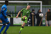 Forest Green Rovers Carl Winchester(7) passes the ball forward during the The FA Cup match between Forest Green Rovers and Billericay Town at the New Lawn, Forest Green, United Kingdom on 9 November 2019.