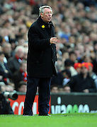 An angry Sir Alex Ferguson shouts at his players during the Barclays Premier League match between Manchester United and Liverpool at Old Trafford on March 14, 2009 in Manchester, England.