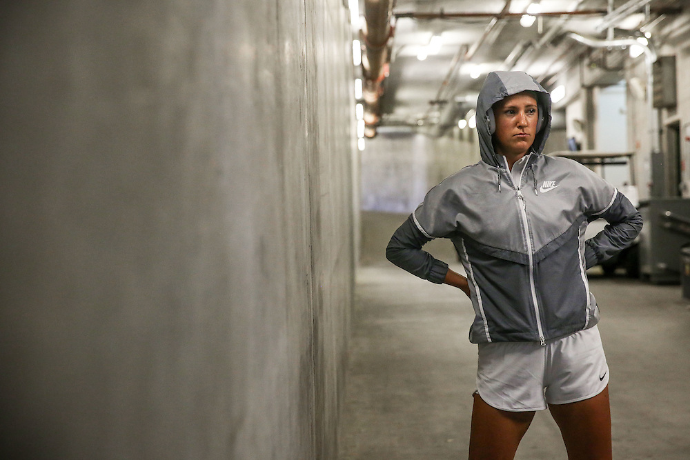 March 17, 2016, Palm Springs, CA:<br /> Victoria Azarenka waits in the tunnel before playing Magdalena Rybarikova during the 2016 BNP Paribas Open at the Indian Wells Tennis Garden in Indian Wells, California Thursday, March 17, 2016.<br /> (Photos by Billie Weiss/BNP Paribas Open)