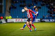 Lincoln City defender Harry Toffolo  (3) and Gillingham FC forward Brandon Hanlan (7) during the EFL Sky Bet League 1 match between Gillingham and Lincoln City at the MEMS Priestfield Stadium, Gillingham, England on 16 November 2019.