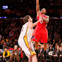 03 November 2013: Atlanta Hawks point guard Jeff Teague (0) goes for the floater over Los Angeles Lakers power forward Pau Gasol (16) during the Los Angeles Lakers 105-103 victory over the Atlanta Hawks at the Staples Center, Los Angeles, California, USA.