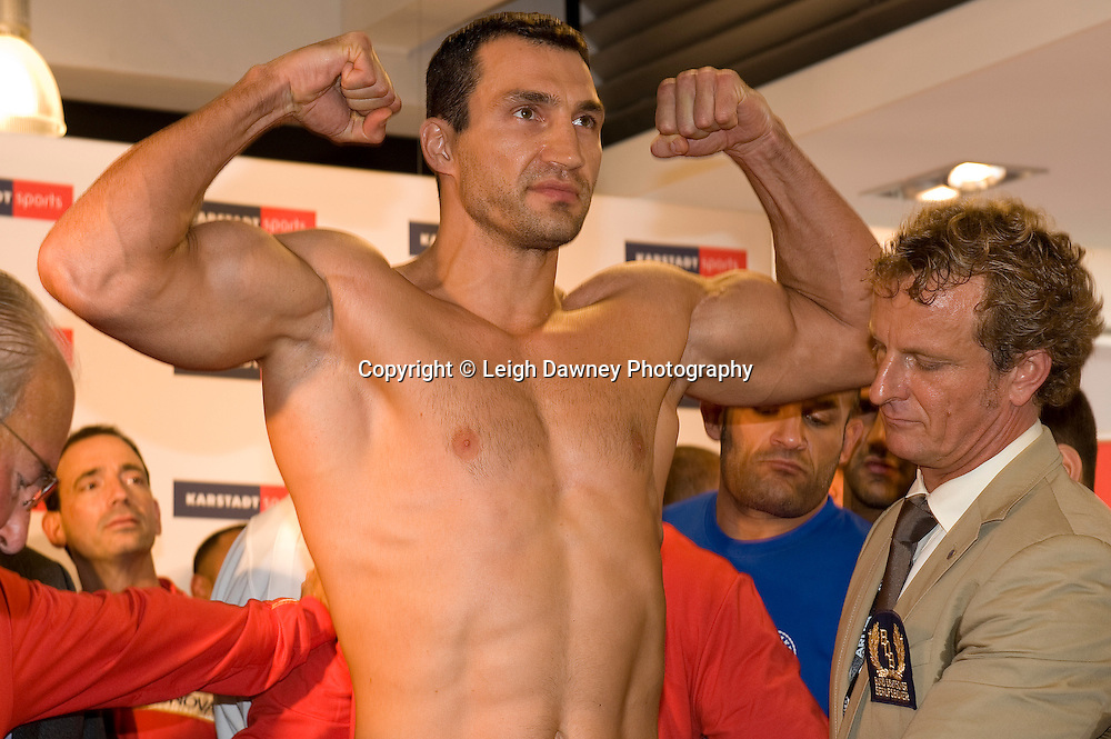 Friday 1st July 2011. David Haye & Wladimir Klitschko (pictured) at the Official Weigh In, Hamburg before for the WBA, WBO & IBF Heavyweight Title. Photo credit: Leigh Dawney 2011