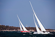 Columbia and American Eagle sailing in the Museum of Yachting Classic Yacht Regatta.