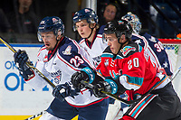KELOWNA, CANADA - OCTOBER 27: Parker AuCoin #32 of the Tri-City Americans is checked by Conner Bruggen-Cate #20 of the Kelowna Rockets on October 27, 2017 at Prospera Place in Kelowna, British Columbia, Canada.  (Photo by Marissa Baecker/Shoot the Breeze)  *** Local Caption ***