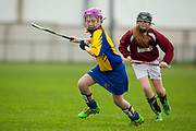 22/10/2016,  Cumann na mBunscol Primary School Finals at Trim.<br /> Game 3_Division 1 Camogie Final: Baconstown vs Ratoath<br /> Caoimhe Heffernan (Ratoath NS) & Sarah O`Reilly-Higgins (Baconstown NS)<br /> Photo: David Mullen /www.cyberimages.net / 2016<br /> ISO: 1000; Shutter: 1/1250; Aperture: 4<br /> File Size: 2.6MB<br /> Print Size: 8.6 x 5.8 inches