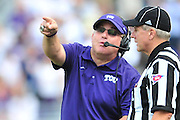 FORT WORTH, TX - SEPTEMBER 13:  TCU Horned Frogs head coach Gary Patterson has words with an official against the Minnesota Golden Gophers on September 13, 2014 at Amon G. Carter Stadium in Fort Worth, Texas.  (Photo by Cooper Neill/Getty Images) *** Local Caption *** Gary Patterson
