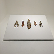 Eccentric Flints   (Precolumbian Period)<br /> Cental America<br /> Knapped flint<br /> Mr. and Mrs. Berry B. Brooks Collection<br /> 1984.1.78<br /> <br /> Termed &ldquo;eccentric&rdquo; due to their abstract shape, flints of this nature were usually created to serve as offerings.  The technique used to make this piece is called &ldquo;knapping,&rdquo; a process in which the flint is shaped through the breaking off of pieces by carefully hitting it with another stone, piece of wood or antler.