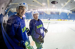Nik Pem of Slovenia and Ales Music of Slovenia during practice session of Team Slovenia at the 2017 IIHF Men's World Championship, on May 8, 2017 in Accorhotels Arena in Paris, France. Photo by Vid Ponikvar / Sportida