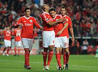 20120114: LISBON, PORTUGAL – Liga Zon Sagres 2011/2012: SL Benfica vs V. Setubal. In picture: Cardozo, Luisao, Matic and Jardel (Benfica).<br />PHOTO: Alvaro Isidoro/CITYFILES