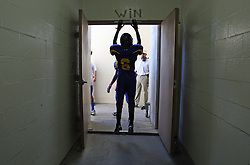 Channelview's Brandon Thomas (6) leaves the locker room to take the field to face the PA Memorial Titans, Saturday, October 15, 2011, at Stallworth Stadium in Baytown, TX.