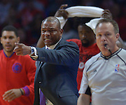 Los Angeles Clippers head coach Doc Rivers complains during the first half. The Los Angeles Clippers played the Portland Trail Blazers in game 5 of the NBA Western Conference Playoffs first round. Los Angeles, CA.  April 27, 2016. (Photo by John McCoy/Southern California News Group)