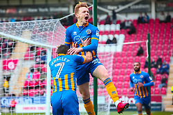 Jon Nolan of Shrewsbury Town and Shaun Whalley of Shrewsbury Town celebrate after opening the scoring against Rotherham United - Mandatory by-line: Ryan Crockett/JMP - 18/11/2017 - FOOTBALL - Aesseal New York Stadium - Rotherham, England - Rotherham United v Shrewsbury Town - Sky Bet League One