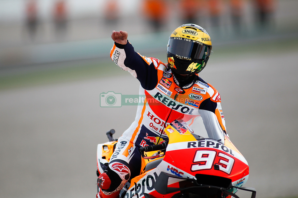 November 17, 2019, Cheste, VALENCIA, SPAIN: Marc Marquez, rider of Repsol Honda Team from Spain, celebrates the victory and the World Champion Title during the MotoGP Race of the Valencia Grand Prix of MotoGP World Championship celebrated at Circuit Ricardo Tormo on November 16, 2019, in Cheste, Spain. (Credit Image: © AFP7 via ZUMA Wire)