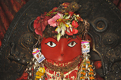 April 27, 2017 - Kathmandu, Nepal - A Portrait of Idol Rato Machindranath 'God of Rain' at Machindra Bahal, Laltipur, Nepal on Thursday, April 27, 2017. The longest festival of Nepal, Rato Machindranath Festival continues by pulling the chariot from May 1, 2017 from Pulchowk. Rato Machindranath is also said as the 'God of Rain' and both Hindus and Buddhists worship the Machindranath in hope of good rain to prevent drought during the rice plantation season. (Credit Image: © Narayan Maharjan/NurPhoto via ZUMA Press)
