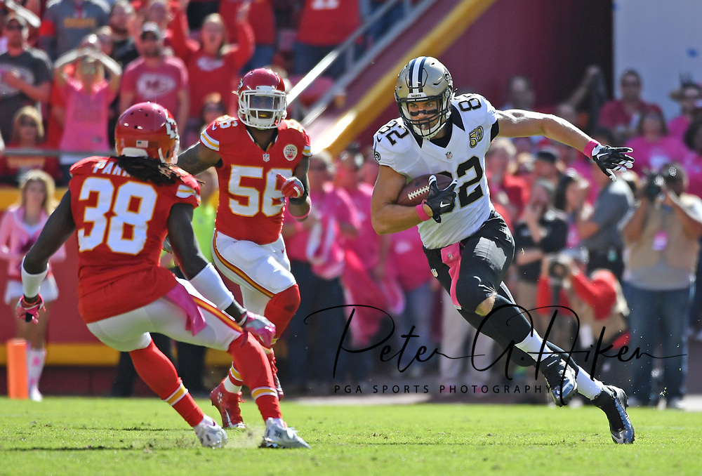 KANSAS CITY, MO - OCTOBER 23:  Tight end Coby Fleener #82 of the New Orleans Saints rushes up field against defenders Ron Parker #38 and Derrick Johnson #56 of the Kansas City Chiefs during the second half on October 23, 2016 at Arrowhead Stadium in Kansas City, Missouri.  (Photo by Peter G. Aiken/Getty Images) *** Local Caption *** Coby Fleener;Ron Parker;Derrick Johnson