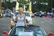 Queen Murray Miller rides in the Ole Miss homecoming parade in Oxford, Miss. on Friday, October 17, 2014. Ole Miss hosts Tennessee in football action on Saturday, October 18 at 6 p.m.