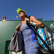 March 11, 2016, Palm Springs, CA:<br /> Agnieszka Radwanska is introduced before playing Dominica Sibulkova are introduced during the 2016 BNP Paribas Open at the Indian Wells Tennis Garden in Indian Wells, California Friday, March 11, 2016.<br /> (Photos by Billie Weiss/BNP Paribas Open)