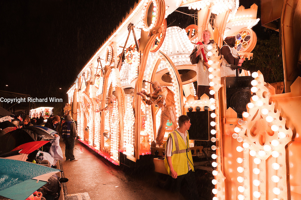 Side view of the 2010 entry by British Flag, as seen in the heavy rain at Bridgwater Guy Fawkes Carnival.