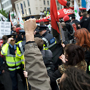Protest march against government economic policies and support to the banks.
