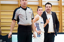 Teja Oblak and Damir Grgic, head coach of Slovenia during basketball match between National teams of Slovenia and Romania in 4. round of FIBA Women's EuroBasket 2019 Qualifiers, on February 14, 2018 in Dvorana Gimnazija Celje - Center, Slovenia. Photo by Urban Urbanc / Sportida