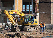 Construction crews work on the new Milby High School, July 15, 2015.