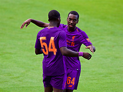 BIRKENHEAD, ENGLAND - Tuesday, July 10, 2018: Liverpool's Rafael Camacho (right) celebrates scoring the first goal with team-mate Sheyi Ojo during a preseason friendly match between Tranmere Rovers FC and Liverpool FC at Prenton Park. (Pic by Paul Greenwood/Propaganda)