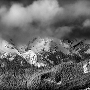 A winter storm clears over the northern Cascades near Mount Baker Ski Area.